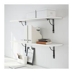 EKBY HEMNES / EKBY HÅLL Wall shelf - white/black - IKEA