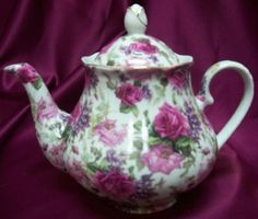 Pink Roses and Lilacs Chintz Porcelain Teapot