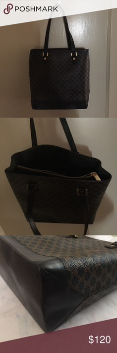 Authentic Celine Hand Bag Black Macadam PVC 100986 Lightly use very good used condition Celine Bags Shoulder Bags