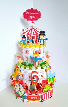 El mundo mágico del circo. #tartadechuches para el #cumpleaños de Mario. #circusparty #ideascirco #tartasdegolosinas