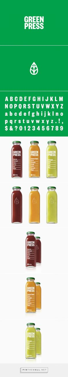 Green Press juice packaging designed by Dimes Design (Australia) - http://www.packagingoftheworld.com/2016/02/green-press.html