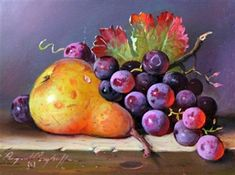 Raymond Campbell - Pear with grapes, Oil on board