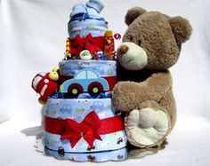 Boys Baby Diaper Cake Shower Gift or Centerpiece