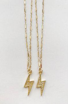 Rhinestone Mini Lightning Bolt on 16 Gold Fill Chain