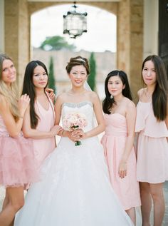 Gorgeous mix & match blush bridesmaid dresses: http://www.stylemepretty.com/destination-weddings/spain-weddings/2016/02/01/elegant-mallorca-wedding/ | Photography: Peaches And Mint - http://peachesandmint.com/
