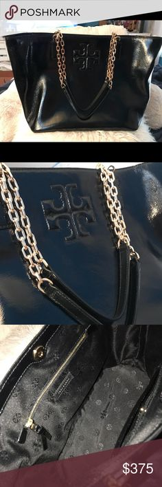 Tory Burch Black Patent Leather Tote Excellent Condition, Like NEW Tory Burch Bags Totes
