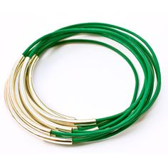 Leather Bangles Set Emerald