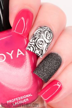 I used Zoya Dana for the pink nails, Zoya Dahlia for the ring finger and OPI Alpine White stamped with a rose design from Moyou Princess 12 ...