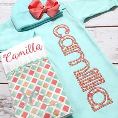 cc98a03590cf Items similar to Girl Coming Home Outfit Baby Gown Bow - Baby Girl Bring  Home Outfit - Mint Sleeper With Bow - Unique Baby Clothes - Monogrammed Baby  Gown ...