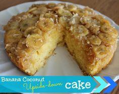 Banana Coconut Upside-Down Cake on SixSistersStuff.com