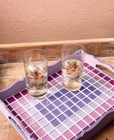 Mosaic tray in purple shades! Mosaic Tray, Mosaic Glass, Mosaic Tile Designs, Mosaic Tiles, Mosaic Projects, Stained Glass Projects, Mosaic Artwork, Ramadan Decorations, Decoupage Vintage