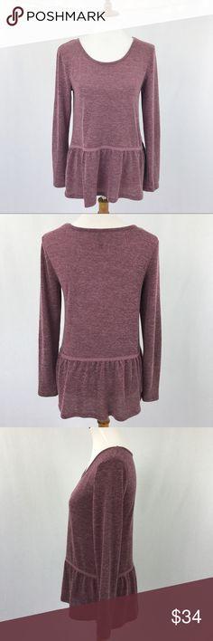 "MASSINI Purple Peplum Knit Top SMALL S Long Sleeve MASSINI Women's Purple Peplum Knit Top SMALL S Long Sleeve Bust 19"" Length 28"" Massini Tops Blouses"