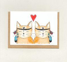 BOHO LOVE CATS . greeting card . cute cats . wedding engagement valentines anniversary love note girlfriend boyfriend friendship . australia