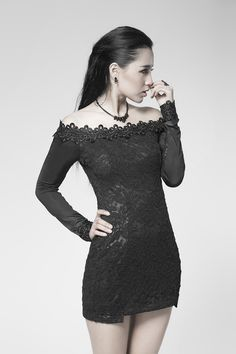 2921d9c75fc back hollow black lace punk dress with the word collar Lolita Fashion