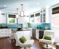 Mid-century kitchen, dark walnut wood floors, white cabinets, aqua blue ceiling and aqua glass subway tile backsplash. Color scheme for bathroom, accent in natural green?