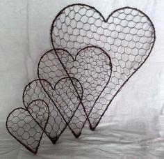 .wire heart, chicken wire hearts by elsie