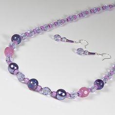 Purple necklace & earrings set, Beaded jewellery, Secret Santa, Stocking filler £7.00