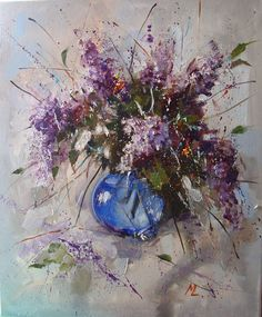 """ARTFINDER: """" Bouquet of lilacs in the glass vase... by Monika Luniak - OIL ON CANVAS signed with a certificate of authenticity.  I use a paintbrush,  knife palette, original, oil on canvas and heavily textured. 60x50cm, ready ..."""