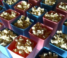 Pink & Blue Popcorn Boxes Blue Popcorn, Popcorn Boxes, Carnival Birthday, Pink Blue, Party, Food, Essen, Parties, Meals