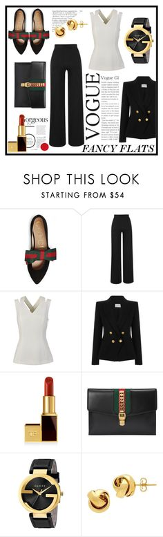 """Fancy Flats"" by sanjna-sanjiv ❤ liked on Polyvore featuring Gucci, Amanda Wakeley, BOSS Hugo Boss, Pierre Balmain, Tom Ford, Lord & Taylor and chicflats"