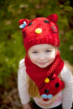 Red Kitty Hat And Scarf Set by LittleThumbkin on Etsy, $35.00