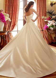 Modest Satin Sweetheart Neckline A-Line Wedding Dresses With Beadings