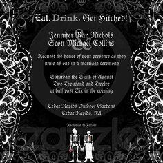 Shop Gothic Bride & Groom Skeleton Wedding Invitations created by oddlotpaperie. Gothic Wedding Invitations, Halloween Wedding Invitations, Damask Wedding, Skull Wedding, Wedding Favors, Wedding Groom, Bride Groom, Plan My Wedding, Wedding Ideas