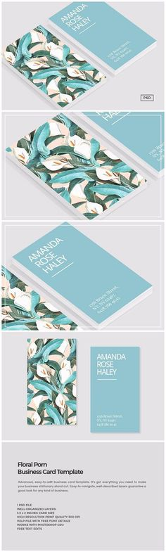 Floral Porn Business Card Template by The Design Label on @creativemarket #UniqueBusinessCards