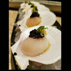 Canadian Bay scallops with Osetra Caviar, preserved lemon and cold pressed Olive Oil #sushi #sashimi #fresh #healthy #fit #fitdiet #fish #hamachi #sushilovers #sushidate #sushiporn #food #foodporn #truecooks #truecooksstreetteam #industry #foodstarz_official #foodstarz #thejapanesecuisine #love #pokemongo #thefishmovement #playingwithfood #lovemyjob #whatwedo #scallops