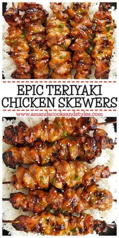 Kabob Recipes, Meat Recipes, Asian Recipes, Appetizer Recipes, Chicken Recipes, Cooking Recipes, Healthy Recipes, Dinner Recipes, Grill Recipes