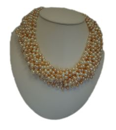 """Cultured Pearls Fresh Water Twist / Torsade Necklace, 8 rows, 18"""", Sterling Silver. Handmade by ClarielDesigns on Etsy"""