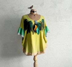 Tribal Feather Top Lime Green Bohemian by BrokenGhostClothing