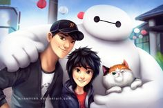 Hiro Hamada and Tadashi and Baymax with Mochi