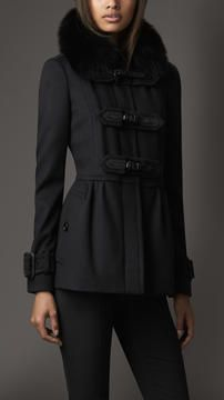 Burberry Fur Collar Wool Cashmere Jacket