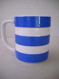 Vintage T.G. Green Blue & White Stripe Cornish Kitchenware, Cornishware Cornish Ware Coffee Mug Cup Judith Onions Mark by Modernaire on Etsy