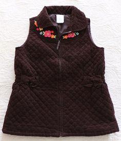 Girls Gymboree Size M Medium 7 8 WOODLAND FRIENDS Brown Corduroy Quilted Vest #Gymboree #Vest #EverydayHoliday