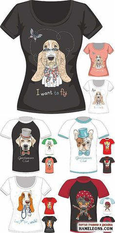 Забавные рисунки собак на футболках в векторе   T-shirt with dogs