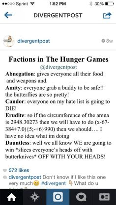 Divergent faction scenarios in the Hunger Games. Abnegations are the first to go. Oh Erudite, you have no idea what you are doing this is a first