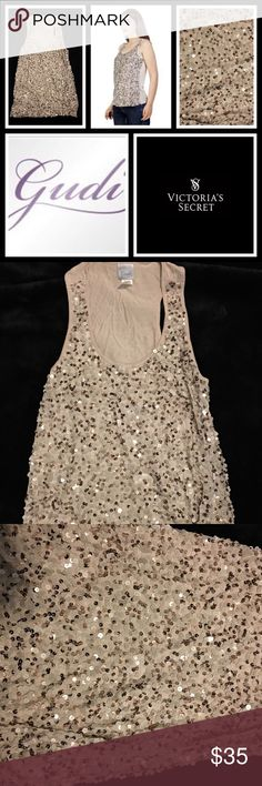 "VS Gudi Beige Sequined Racer Back Party Tank 🎉 VS Gudi Ombré Collection sequined party tank - pre loved but in very good condition with no real signs of wear. Color is ""beige"" but because of sequins has a gold / light brown tone too! Victoria's Secret Tops Tank Tops"