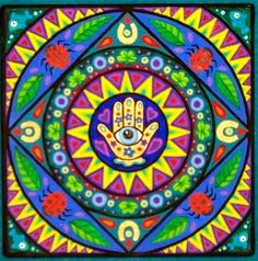 """""""Hand of Fatima"""" mandala by Soozie Wray Visit https://www.facebook.com/pages/Soozie-Wray/251726351630816"""