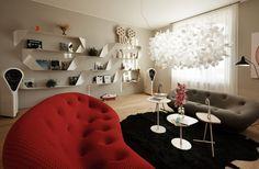 Dvě pohovky Ploum z Ligne Roset jsou ideální při použití ve volném prostoru. Dominantní svítidlo navrhla Anna Kozová. Ligne Roset, Squat, Shag Rug, Anna, Walls, Living Room, Storage, Furniture, Color