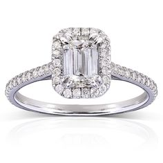 Annello 14k White Gold 1 1/3ct TDW Emerald-cut Diamond Halo Engagement Ring (H-I, I1-I2) | Overstock™ Shopping - Top Rated Annello Engagement Rings