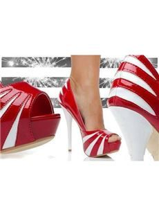 Elegant Red and White Contrast Color Platform Peep-Toe Stiletto Heel, from Iryna Dream Shoes, Crazy Shoes, Me Too Shoes, Glamour Fashion, Fashion Shoes, Fashion Clothes, Pretty Shoes, Beautiful Shoes, Sexy Heels