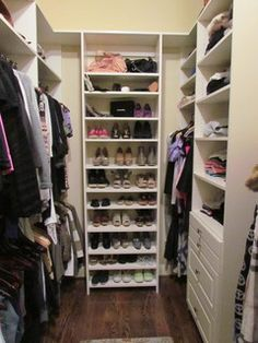 This picture represents one half of a master closet that has become HER side, hanging rod heights were adjusted to accommodate her petite stature, longer and