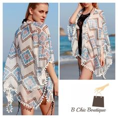 Zigzag printed Kimono/ Cover up Stunning embellished chiffon print with Pom Poms on the bottom. Perfect for the beach or to wear as a kimono! One size fits most XS - XL - PRICE FIRM - NO TRADES B Chic Swim Coverups