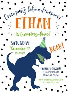 ROAR! This invitation is perfect for your dinosaur-obsessed little one! Such a fun theme that he and your guests are sure to love! Note: Customizable for any age no matter which age is listed! This listing allows you either: (1) to purchase your invitation as a digital file only; or (2) to purchase as many PRINTED invitations as you need. Simply use the drop-down menu to choose. Both options include a FREE matching back for your invitation, for an elegant and polished look. Invitations are…
