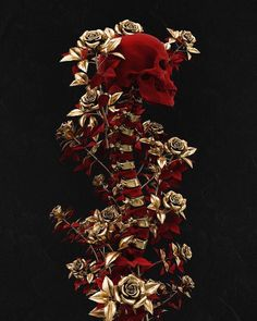 Official logo by on Instagr. - The dark and elegant illustrations of UK artist Billelis 💀 - Art Et Design, Diy Design, Totenkopf Tattoos, Gothic Makeup, Dark Makeup, Red Makeup, Gold Aesthetic, Skull Wallpaper, Gothic Wallpaper