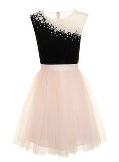 Little Mistress Black and Nude Embelllished Dress