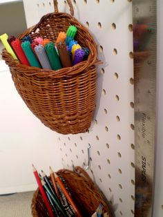hanging baskets on peg board