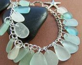 Sea Glass with sterling silver charm bracelet! Star fish charm and toggle clasp closure.